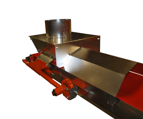 Belt conveyor: Flow through hopper cover